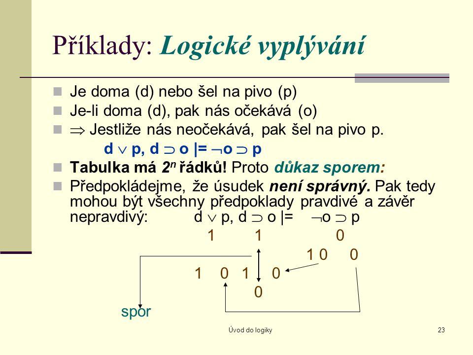 Úvod do logiky23 Příklady: Logické vyplývání Je doma (d) nebo šel na pivo (p) Je-li doma (d), pak nás očekává (o)  Jestliže nás neočekává, pak šel na