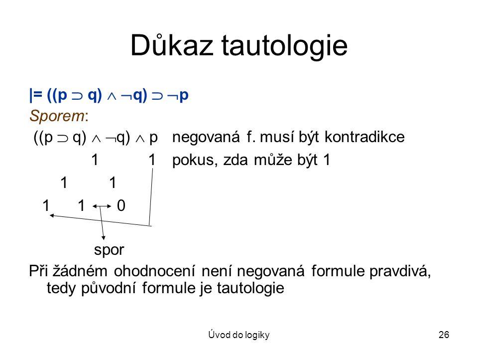 Úvod do logiky26 Důkaz tautologie |= ((p  q)   q)   p Sporem: ((p  q)   q)  p negovaná f. musí být kontradikce 1 1pokus, zda může být 1 1 1 1