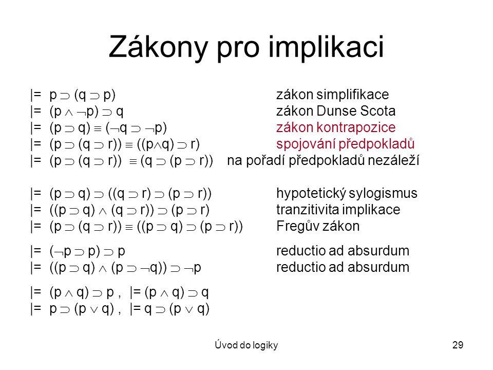 Úvod do logiky29 Zákony pro implikaci |= p  (q  p)zákon simplifikace |= (p   p)  qzákon Dunse Scota |= (p  q)  (  q   p)zákon kontrapozice |