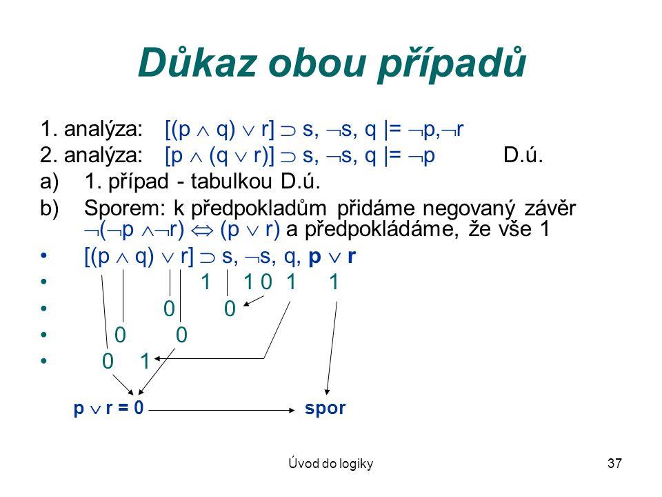Úvod do logiky37 Důkaz obou případů 1. analýza: [(p  q)  r]  s,  s, q |=  p,  r 2. analýza: [p  (q  r)]  s,  s, q |=  pD.ú. a)1. případ - t
