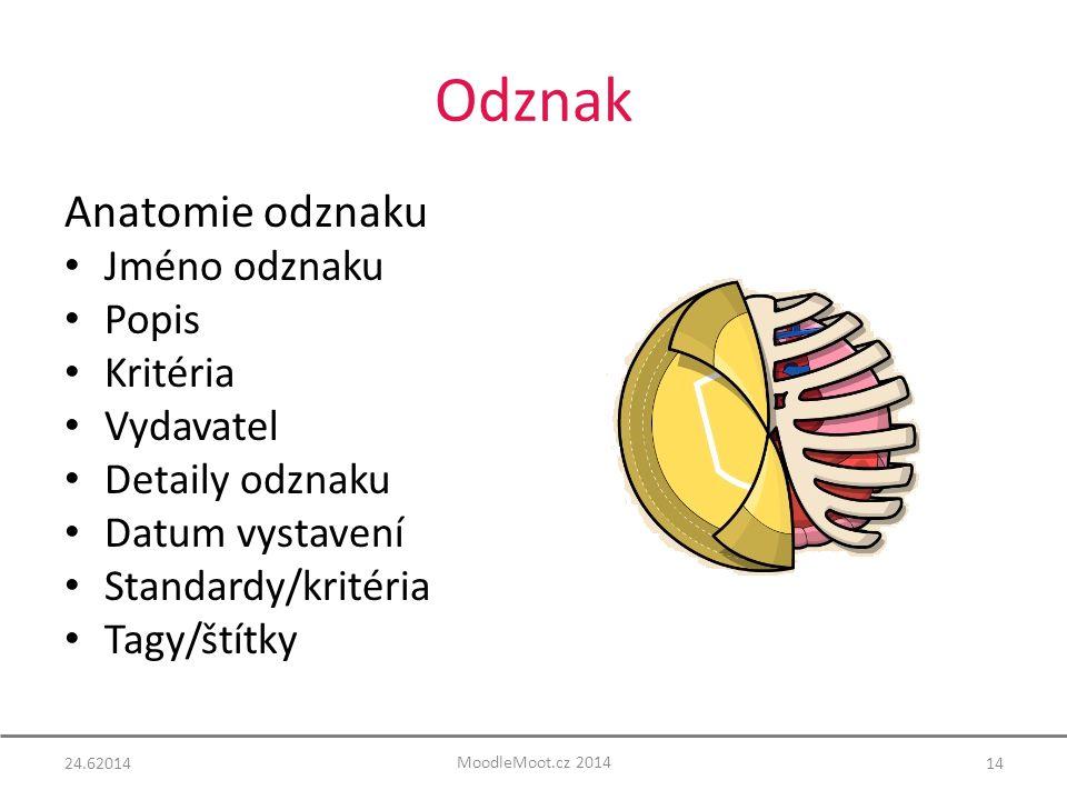 Odznak Anatomie odznaku Jméno odznaku Popis Kritéria Vydavatel Detaily odznaku Datum vystavení Standardy/kritéria Tagy/štítky 24.6201414 MoodleMoot.cz 2014