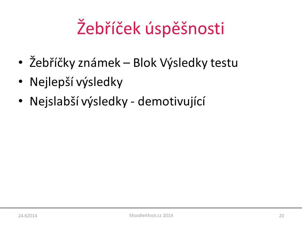 Žebříček úspěšnosti Žebříčky známek – Blok Výsledky testu Nejlepší výsledky Nejslabší výsledky - demotivující 24.6201420 MoodleMoot.cz 2014
