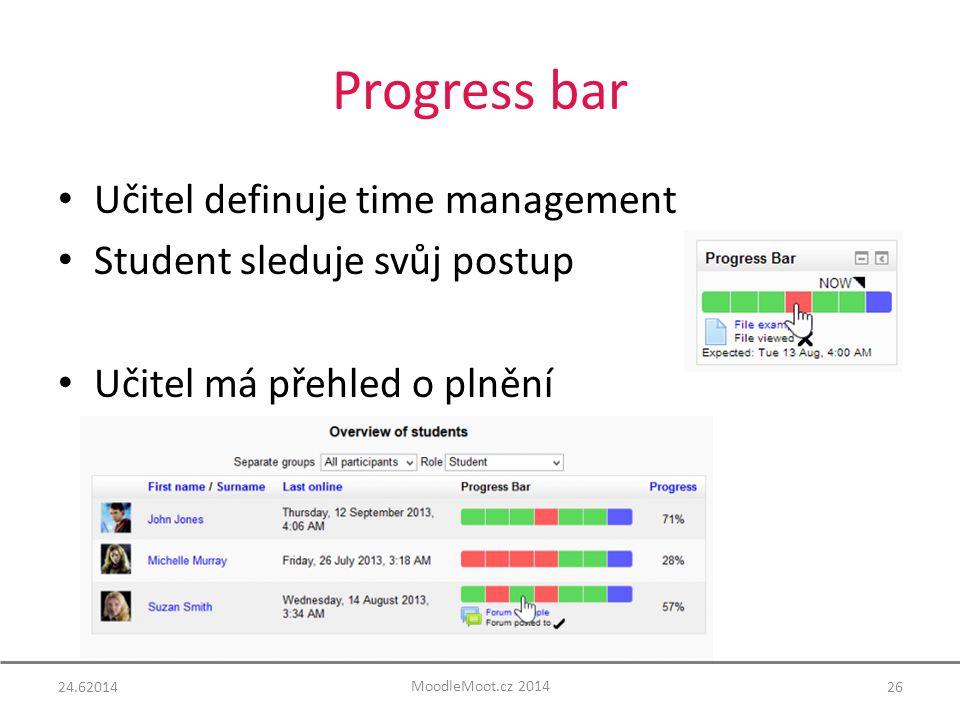 Progress bar 24.6201426 Učitel definuje time management Student sleduje svůj postup Učitel má přehled o plnění MoodleMoot.cz 2014