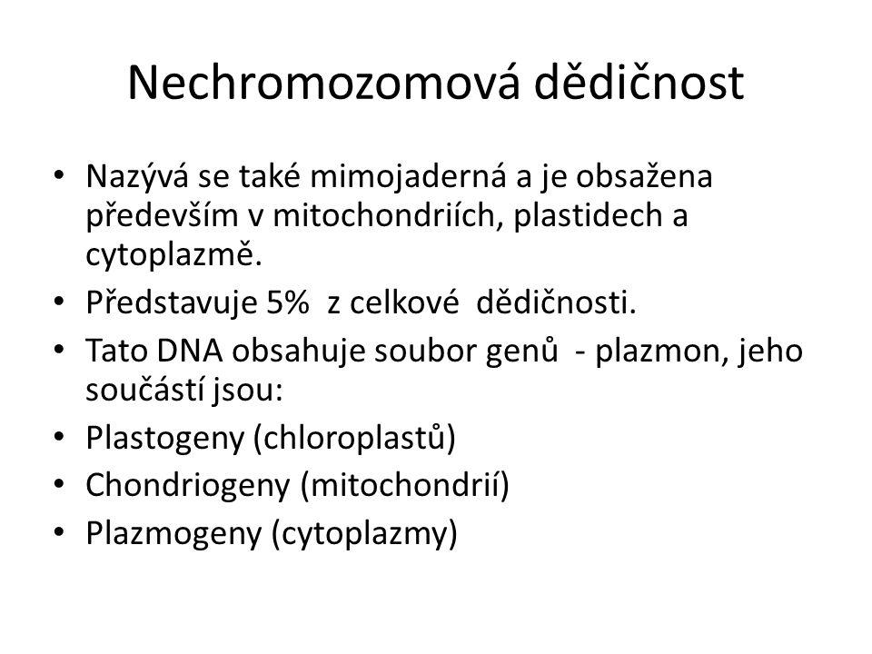 Nechromozomová dědičnost Nazývá se také mimojaderná a je obsažena především v mitochondriích, plastidech a cytoplazmě. Představuje 5% z celkové dědičn