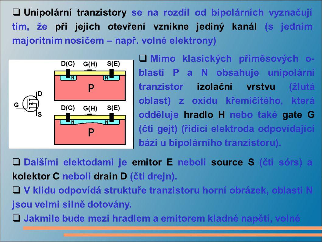  Unipolární tranzistory se na rozdíl od bipolárních vyznačují tím, že při jejich otevření vznikne jediný kanál (s jedním majoritním nosičem – např. v