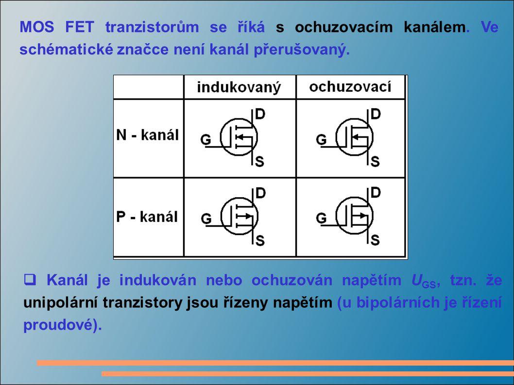 MOS FET tranzistorům se říká s ochuzovacím kanálem. Ve schématické značce není kanál přerušovaný.  Kanál je indukován nebo ochuzován napětím U GS, tz