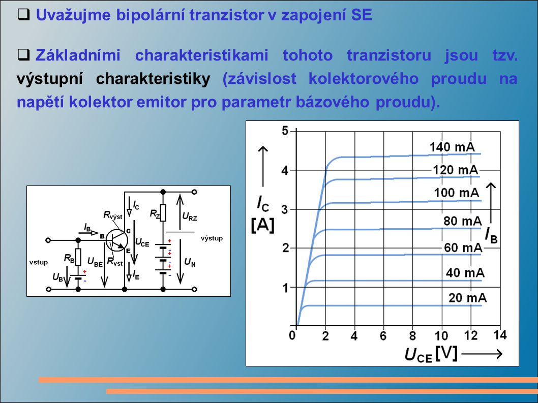  Uvažujme bipolární tranzistor v zapojení SE  Základními charakteristikami tohoto tranzistoru jsou tzv. výstupní charakteristiky (závislost kolektor