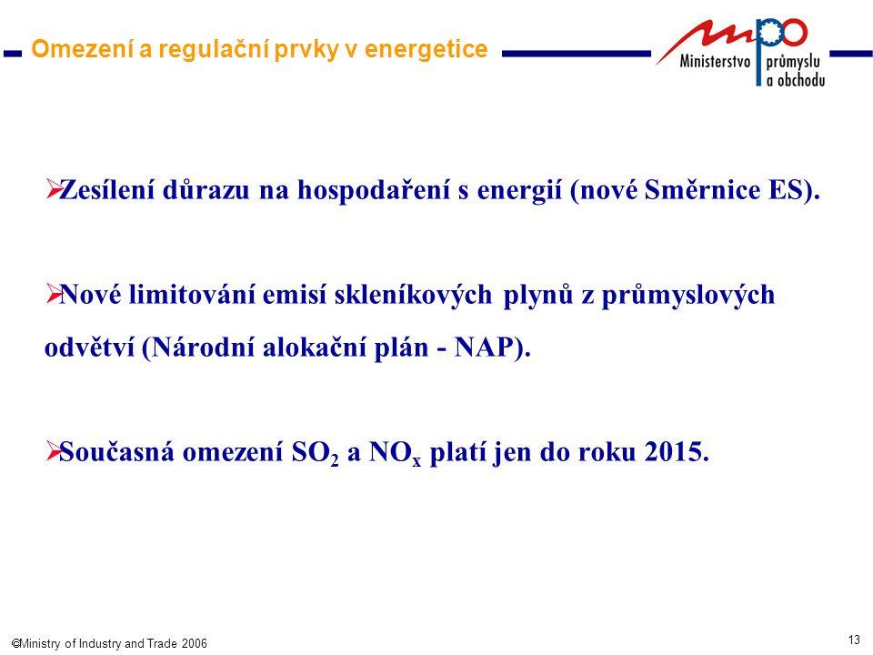 13  Ministry of Industry and Trade 2006 Omezení a regulační prvky v energetice  Zesílení důrazu na hospodaření s energií (nové Směrnice ES).