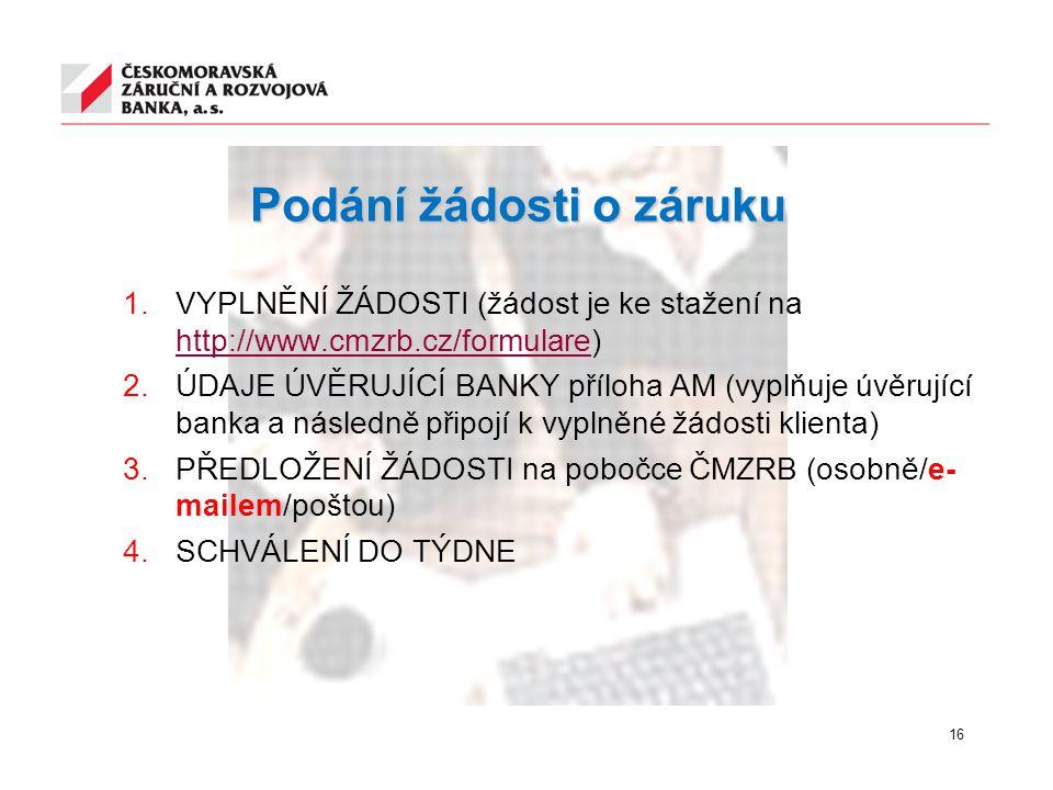Podání žádosti o záruku 1.VYPLNĚNÍ ŽÁDOSTI (žádost je ke stažení na http://www.cmzrb.cz/formulare) http://www.cmzrb.cz/formulare  ÚDAJE ÚVĚRUJÍCÍ BA