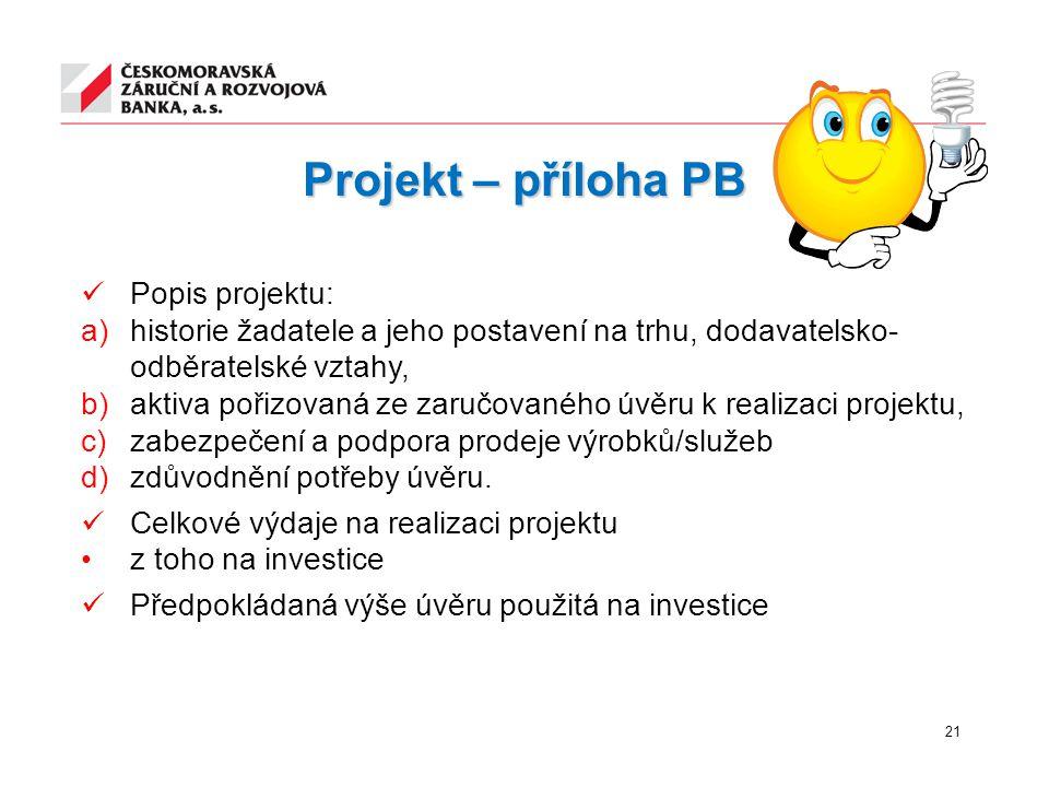 Projekt – příloha PB Popis projektu: a)historie žadatele a jeho postavení na trhu, dodavatelsko- odběratelské vztahy, b)aktiva pořizovaná ze zaručovan