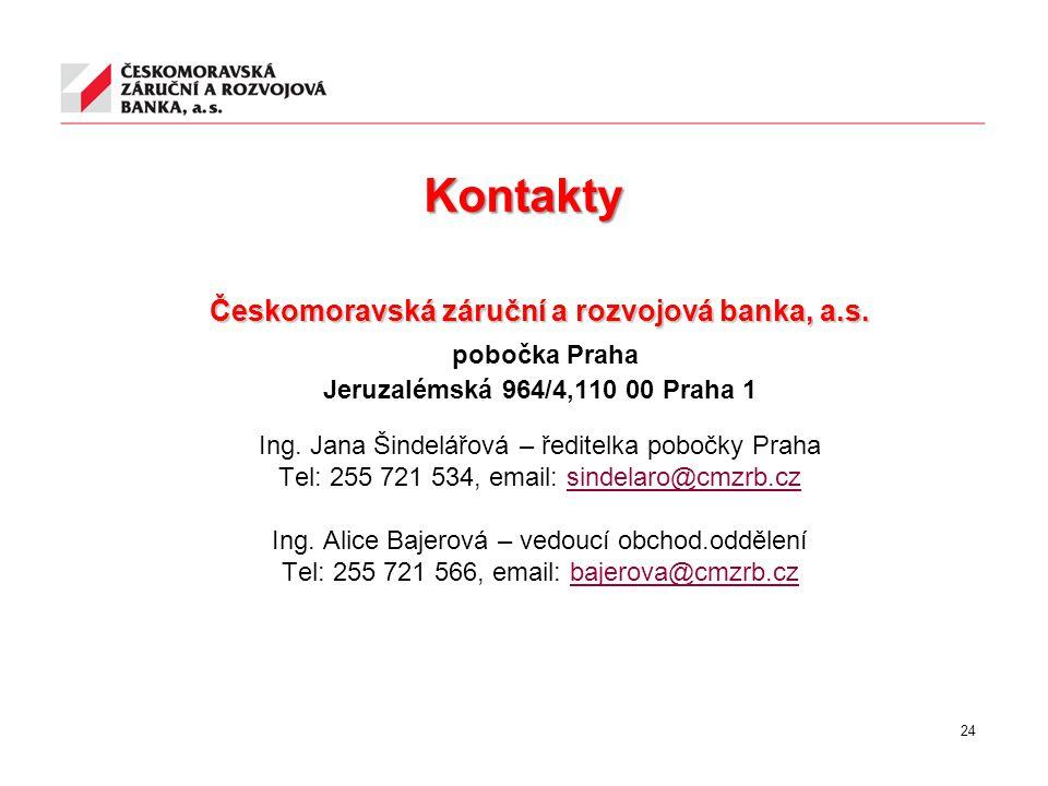 Kontakty Českomoravská záruční a rozvojová banka, a.s. pobočka Praha Jeruzalémská 964/4,110 00 Praha 1 Ing. Jana Šindelářová – ředitelka pobočky Praha