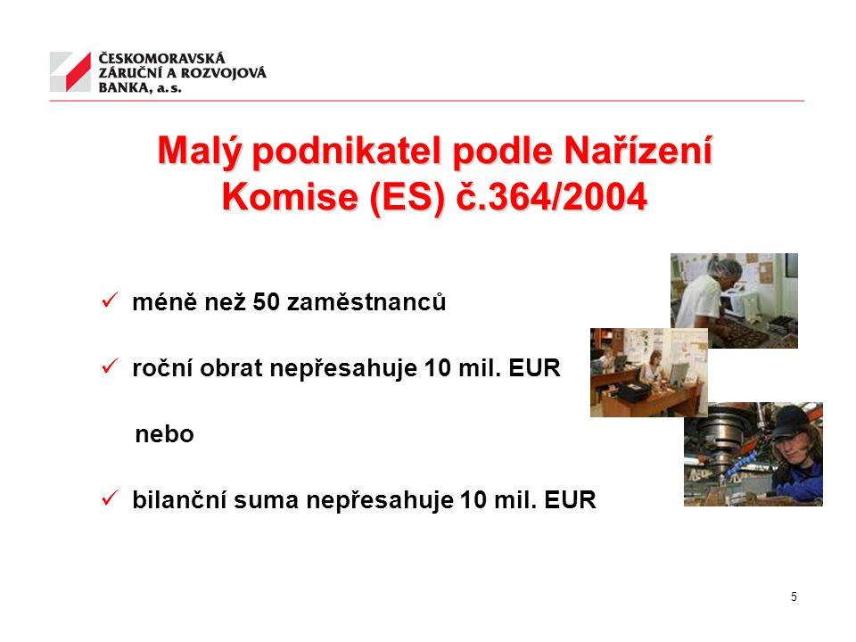 Malý podnikatel podle Nařízení Komise (ES) č.364/2004 méně než 50 zaměstnanců roční obrat nepřesahuje 10 mil. EUR nebo bilanční suma nepřesahuje 10 mi