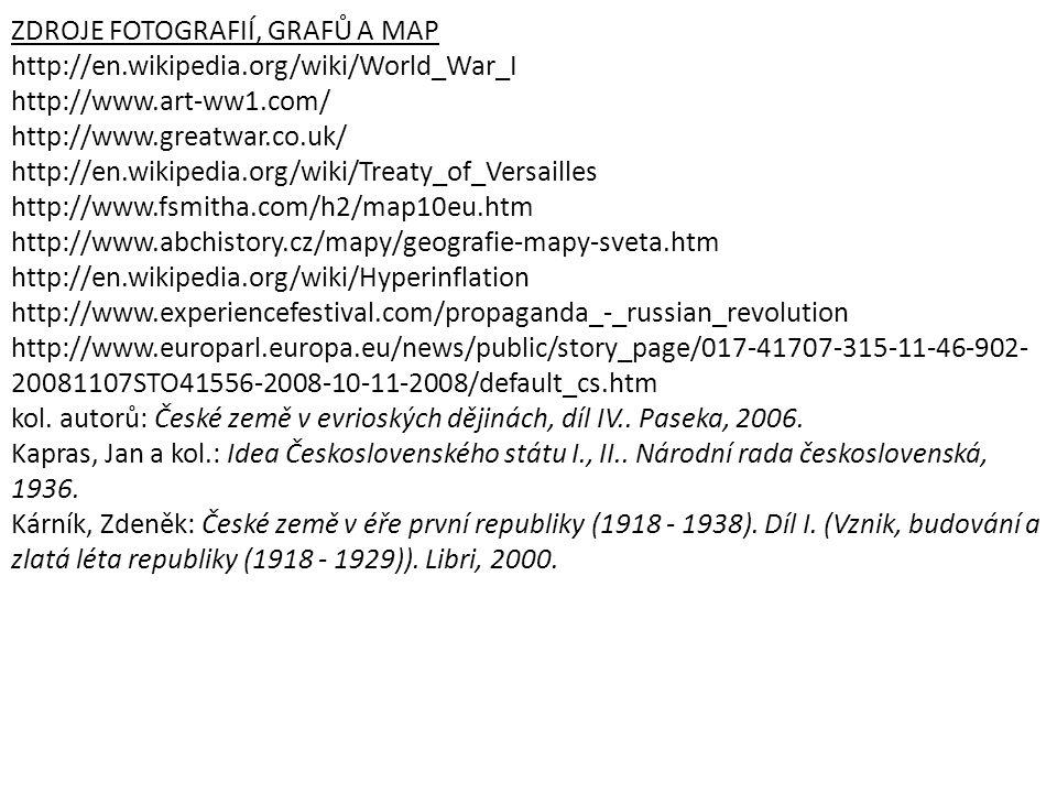 ZDROJE FOTOGRAFIÍ, GRAFŮ A MAP http://en.wikipedia.org/wiki/World_War_I http://www.art-ww1.com/ http://www.greatwar.co.uk/ http://en.wikipedia.org/wik