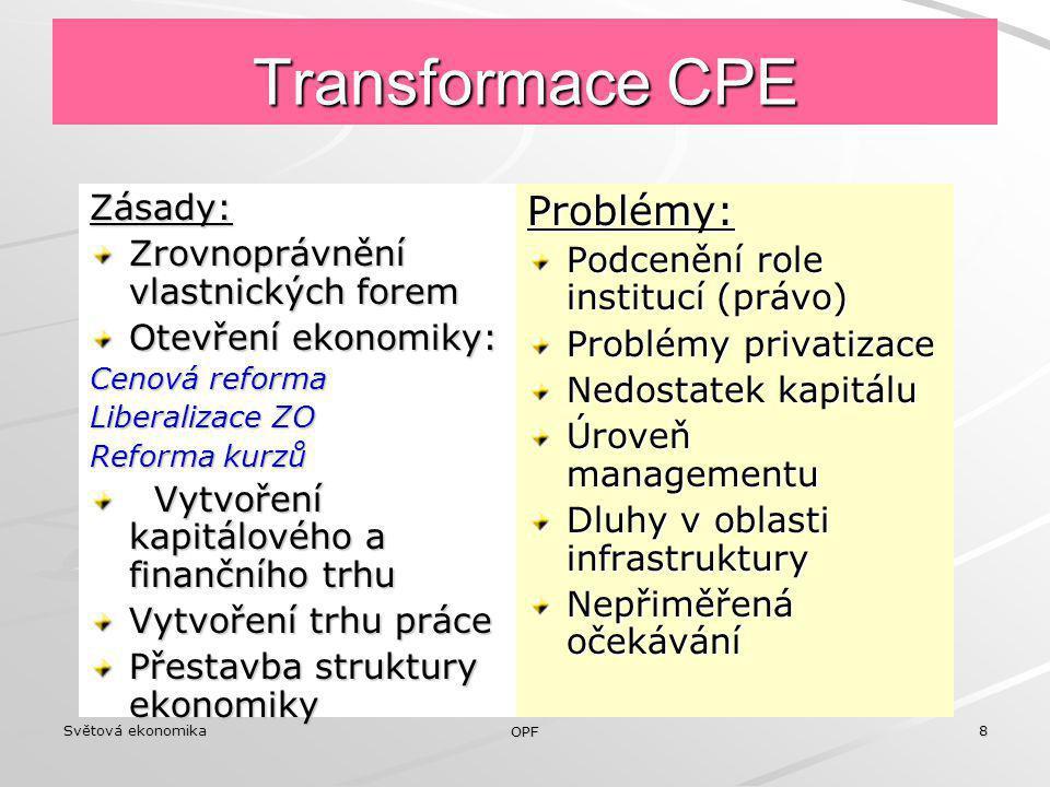 Světová ekonomika OPF 8 Transformace CPE Zásady: Zrovnoprávnění vlastnických forem Otevření ekonomiky: Cenová reforma Liberalizace ZO Reforma kurzů Vy