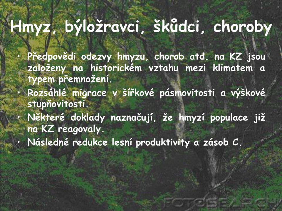 Hmyz, býložravci, škůdci, choroby Předpovědi odezvy hmyzu, chorob atd. na KZ jsou založeny na historickém vztahu mezi klimatem a typem přemnožení. Roz