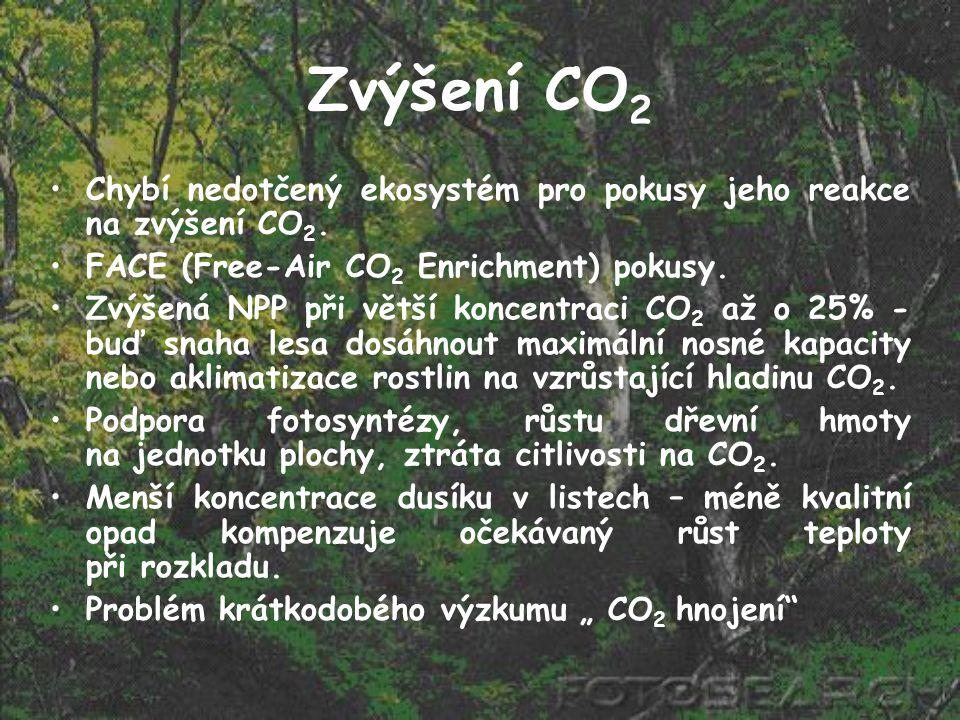 Zvýšení CO 2 Chybí nedotčený ekosystém pro pokusy jeho reakce na zvýšení CO 2. FACE (Free-Air CO 2 Enrichment) pokusy. Zvýšená NPP při větší koncentra