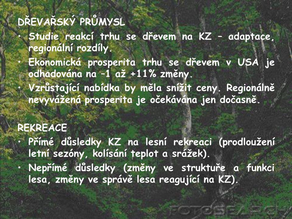 DŘEVAŘSKÝ PRŮMYSL Studie reakcí trhu se dřevem na KZ – adaptace, regionální rozdíly. Ekonomická prosperita trhu se dřevem v USA je odhadována na –1 až