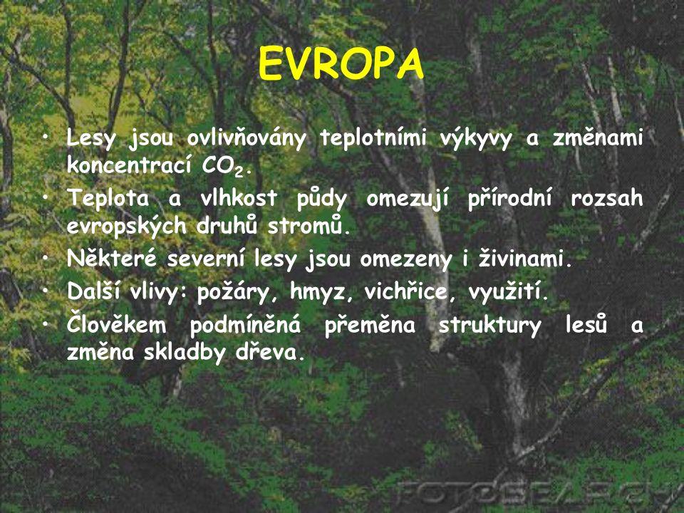 EVROPA Lesy jsou ovlivňovány teplotními výkyvy a změnami koncentrací CO 2. Teplota a vlhkost půdy omezují přírodní rozsah evropských druhů stromů. Něk