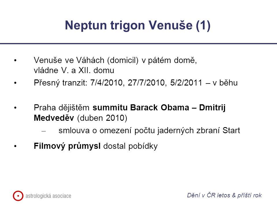 Neptun trigon Venuše (1) Venuše ve Váhách (domicil) v pátém domě, vládne V. a XII. domu Přesný tranzit: 7/4/2010, 27/7/2010, 5/2/2011 – v běhu Praha d