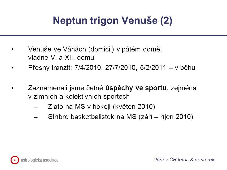 Neptun trigon Venuše (2) Venuše ve Váhách (domicil) v pátém domě, vládne V. a XII. domu Přesný tranzit: 7/4/2010, 27/7/2010, 5/2/2011 – v běhu Zazname