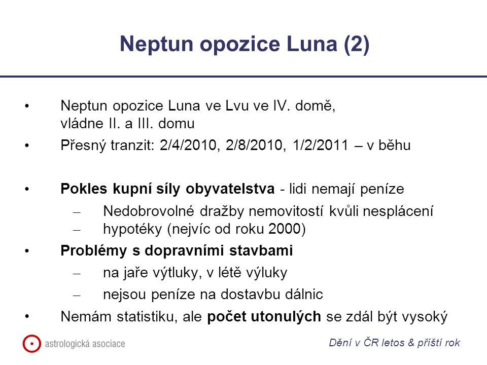 Neptun opozice Luna (2) Neptun opozice Luna ve Lvu ve IV. domě, vládne II. a III. domu Přesný tranzit: 2/4/2010, 2/8/2010, 1/2/2011 – v běhu Pokles ku