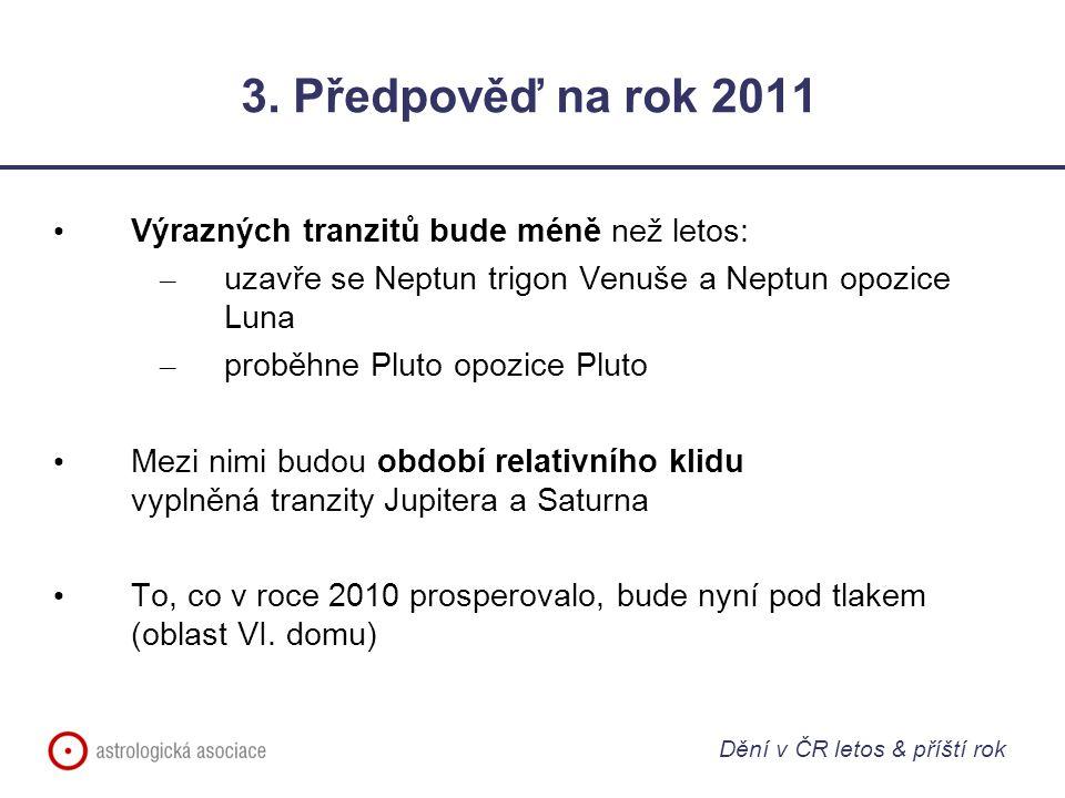 3. Předpověď na rok 2011 Výrazných tranzitů bude méně než letos: – uzavře se Neptun trigon Venuše a Neptun opozice Luna – proběhne Pluto opozice Pluto