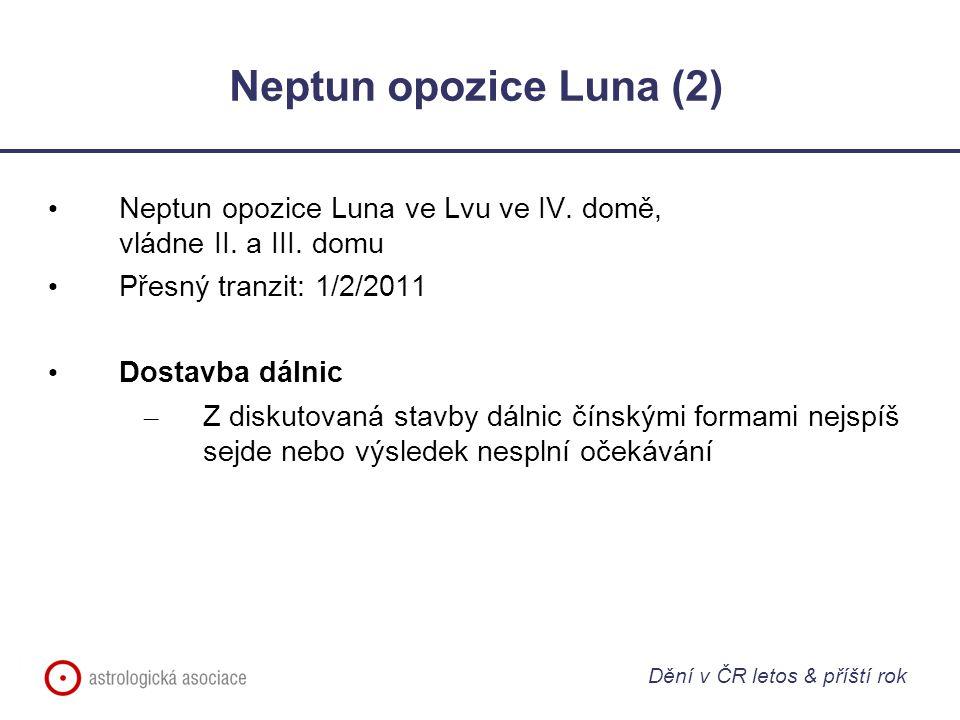 Neptun opozice Luna (2) Neptun opozice Luna ve Lvu ve IV. domě, vládne II. a III. domu Přesný tranzit: 1/2/2011 Dostavba dálnic – Z diskutovaná stavby