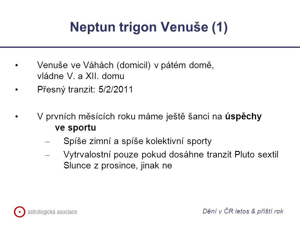 Neptun trigon Venuše (1) Venuše ve Váhách (domicil) v pátém domě, vládne V. a XII. domu Přesný tranzit: 5/2/2011 V prvních měsících roku máme ještě ša