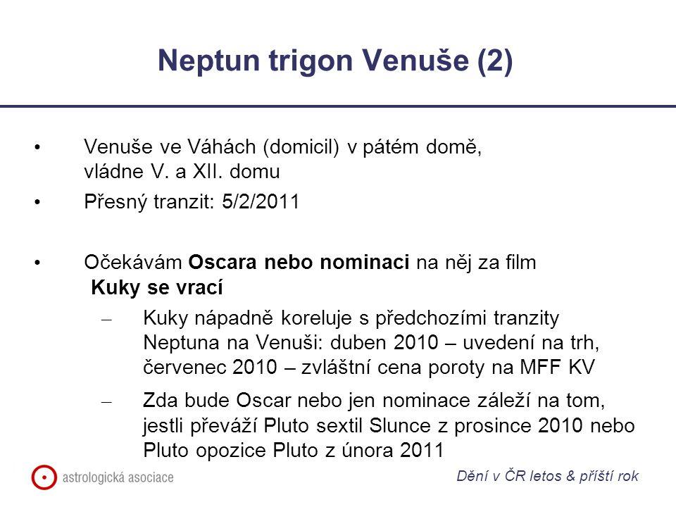 Neptun trigon Venuše (2) Venuše ve Váhách (domicil) v pátém domě, vládne V. a XII. domu Přesný tranzit: 5/2/2011 Očekávám Oscara nebo nominaci na něj