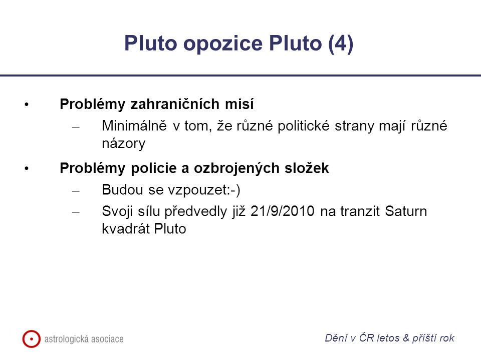 Pluto opozice Pluto (4) Problémy zahraničních misí – Minimálně v tom, že různé politické strany mají různé názory Problémy policie a ozbrojených složek – Budou se vzpouzet:-) – Svoji sílu předvedly již 21/9/2010 na tranzit Saturn kvadrát Pluto Dění v ČR letos & příští rok