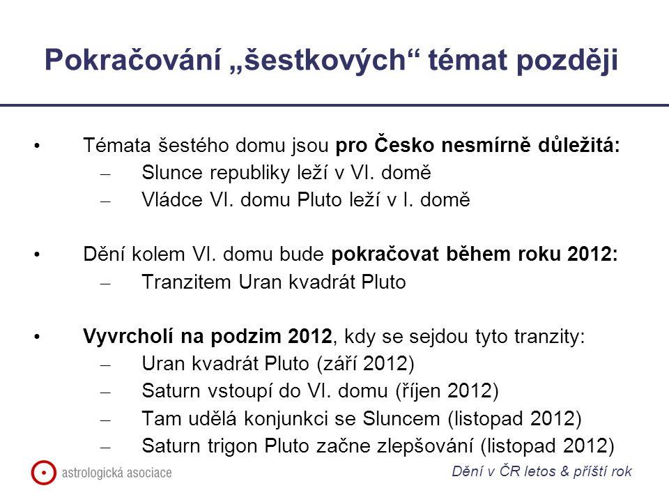 """Pokračování """"šestkových"""" témat později Témata šestého domu jsou pro Česko nesmírně důležitá: – Slunce republiky leží v VI. domě – Vládce VI. domu Plut"""