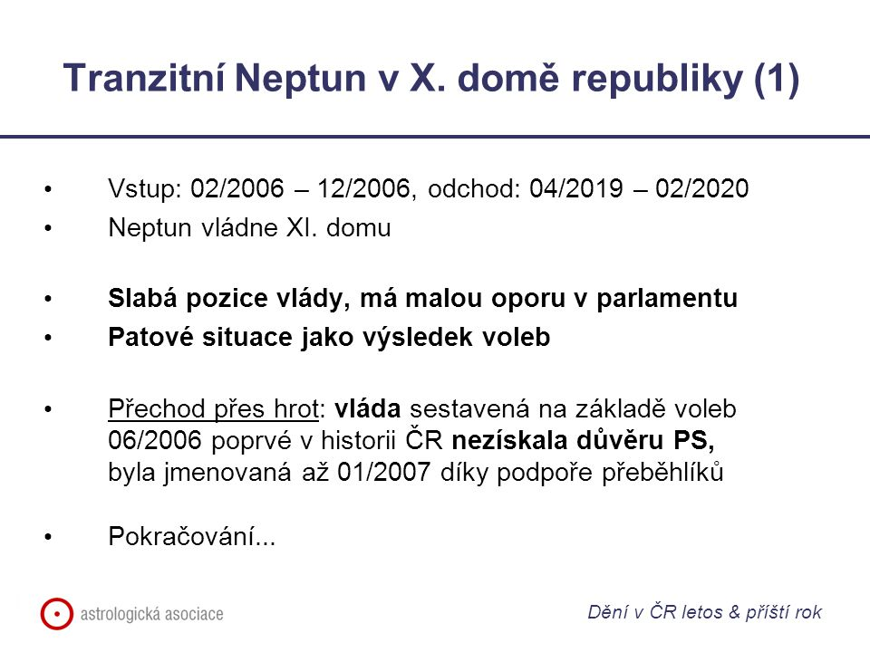 Tranzitní Neptun v X. domě republiky (1) Vstup: 02/2006 – 12/2006, odchod: 04/2019 – 02/2020 Neptun vládne XI. domu Slabá pozice vlády, má malou oporu