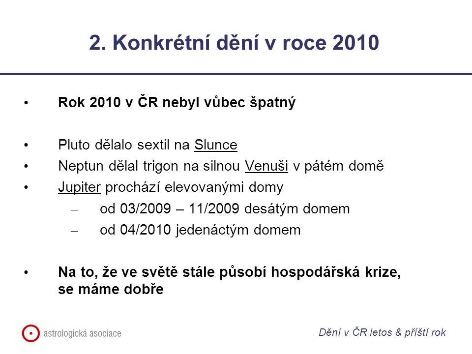 2. Konkrétní dění v roce 2010 Rok 2010 v ČR nebyl vůbec špatný Pluto dělalo sextil na Slunce Neptun dělal trigon na silnou Venuši v pátém domě Jupiter