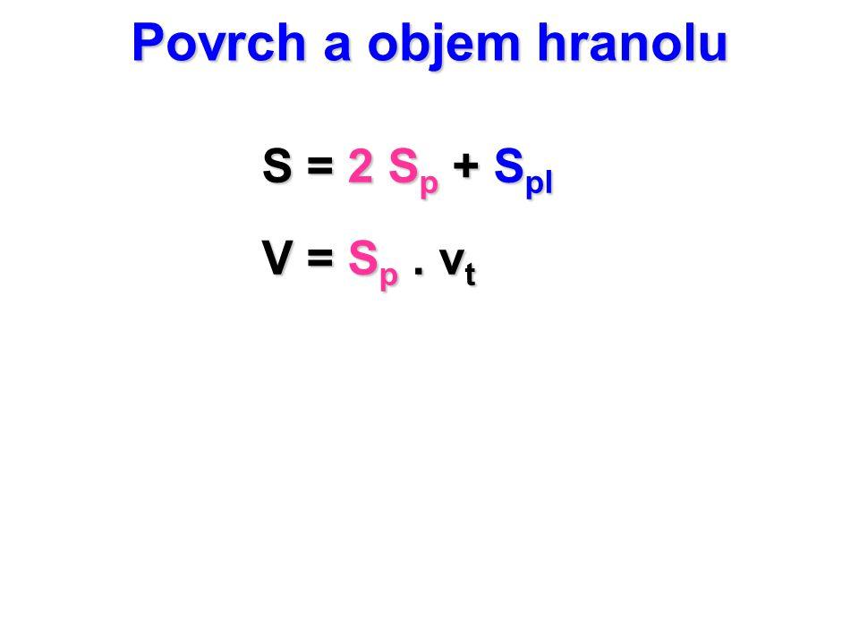 Povrch a objem hranolu S = 2 S p + S pl V = S p. v t