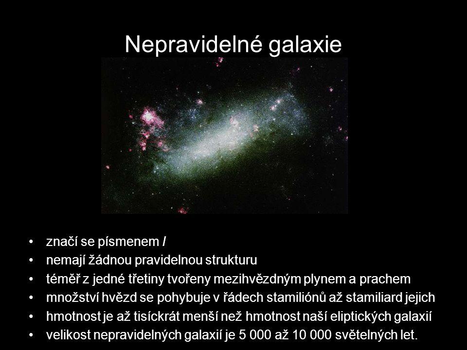 Nepravidelné galaxie značí se písmenem I nemají žádnou pravidelnou strukturu téměř z jedné třetiny tvořeny mezihvězdným plynem a prachem množství hvězd se pohybuje v řádech stamiliónů až stamiliard jejich hmotnost je až tisíckrát menší než hmotnost naší eliptických galaxií velikost nepravidelných galaxií je 5 000 až 10 000 světelných let.