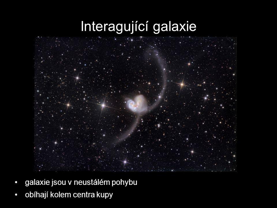 Interagující galaxie galaxie jsou v neustálém pohybu obíhají kolem centra kupy