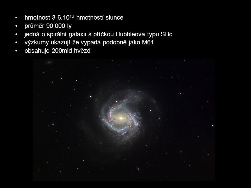 hmotnost 3-6.10 12 hmotností slunce průměr 90 000 ly jedná o spirální galaxii s příčkou Hubbleova typu SBc výzkumy ukazují že vypadá podobně jako M61 obsahuje 200mld hvězd