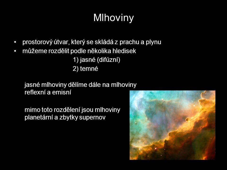 Mlhoviny prostorový útvar, který se skládá z prachu a plynu můžeme rozdělit podle několika hledisek 1) jasné (difúzní) 2) temné jasné mlhoviny dělíme dále na mlhoviny reflexní a emisní mimo toto rozdělení jsou mlhoviny planetární a zbytky supernov