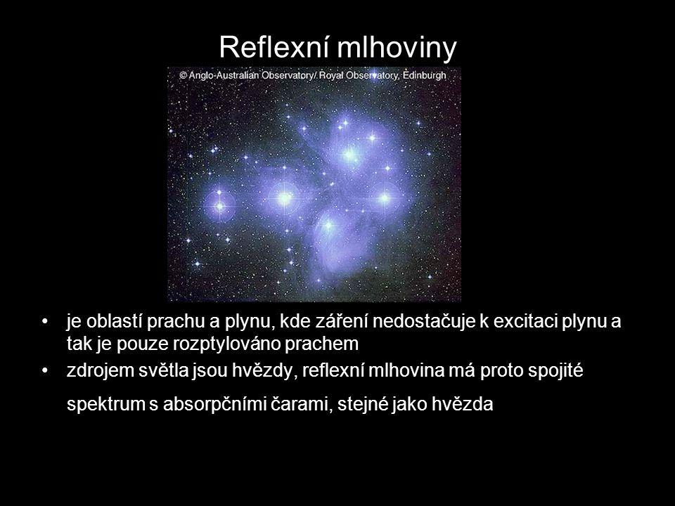 Reflexní mlhoviny je oblastí prachu a plynu, kde záření nedostačuje k excitaci plynu a tak je pouze rozptylováno prachem zdrojem světla jsou hvězdy, reflexní mlhovina má proto spojité spektrum s absorpčními čarami, stejné jako hvězda