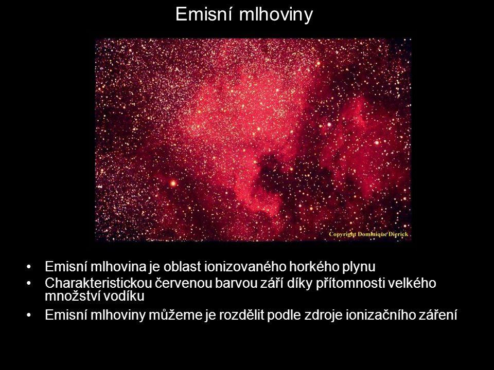 Emisní mlhoviny Emisní mlhovina je oblast ionizovaného horkého plynu Charakteristickou červenou barvou září díky přítomnosti velkého množství vodíku Emisní mlhoviny můžeme je rozdělit podle zdroje ionizačního záření