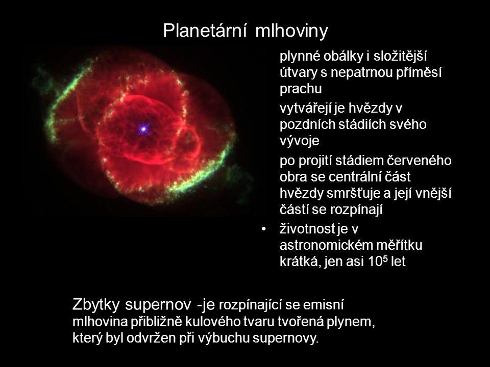 Planetární mlhoviny plynné obálky i složitější útvary s nepatrnou příměsí prachu vytvářejí je hvězdy v pozdních stádiích svého vývoje po projití stádiem červeného obra se centrální část hvězdy smršťuje a její vnější částí se rozpínají životnost je v astronomickém měřítku krátká, jen asi 10 5 let Zbytky supernov -je rozpínající se emisní mlhovina přibližně kulového tvaru tvořená plynem, který byl odvržen při výbuchu supernovy.
