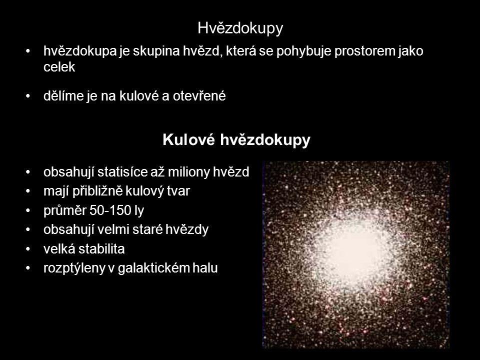 Hvězdokupy hvězdokupa je skupina hvězd, která se pohybuje prostorem jako celek dělíme je na kulové a otevřené Kulové hvězdokupy obsahují statisíce až miliony hvězd mají přibližně kulový tvar průměr 50-150 ly obsahují velmi staré hvězdy velká stabilita rozptýleny v galaktickém halu
