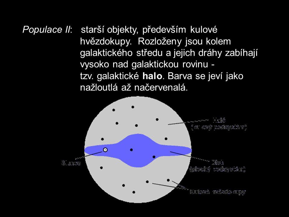 Populace II: starší objekty, především kulové hvězdokupy.
