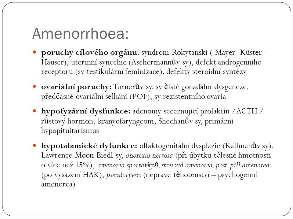 Amenorrhoea: poruchy cílového orgánu: syndrom Rokytanski (-Mayer- Küster- Hauser), uterinní synechie (Aschermann ů v sy), defekt androgenního receptoru (sy testikulární feminizace), defekty steroidní syntézy ovariální poruchy: Turner ů v sy, sy č isté gonadální dysgeneze, p ř ed č asné ovariální selhání (POF), sy rezistentního ovaria hypofyzární dysfunkce: adenomy secernující prolaktin /ACTH / r ů stový hormon, kranyofaryngeom, Sheehan ů v sy, primární hypopituitarismus hypotalamické dyfunkce: olfaktogenitální dysplazie (Kallman ů v sy), Lawrence-Moon-Biedl sy, anorexia nervosa (p ř i úbytku t ě lesné hmotnosti o více než 15%), amenorea sportovky ň, stresová amenorea, post-pill amenorea (po vysazení HAK), pseudocyesis (nepravé t ě hotenství – psychogenní amenorea)