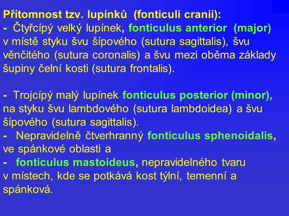Přítomnost tzv. lupínků (fonticuli cranii): - Čtyřcípý velký lupínek, fonticulus anterior (major) v místě styku švu šípového (sutura sagittalis), švu