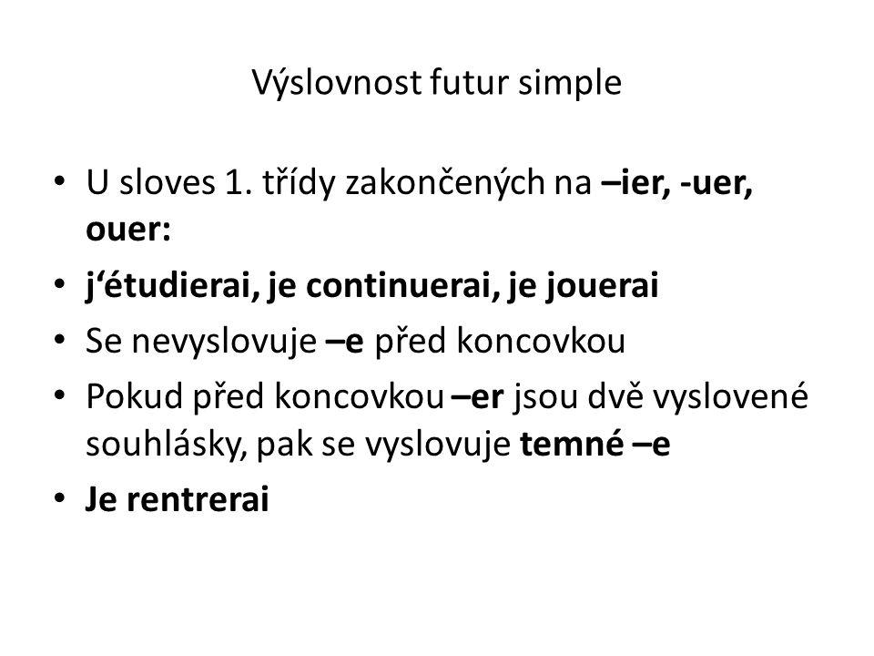 Výslovnost futur simple U sloves 1. třídy zakončených na –ier, -uer, ouer: j'étudierai, je continuerai, je jouerai Se nevyslovuje –e před koncovkou Po