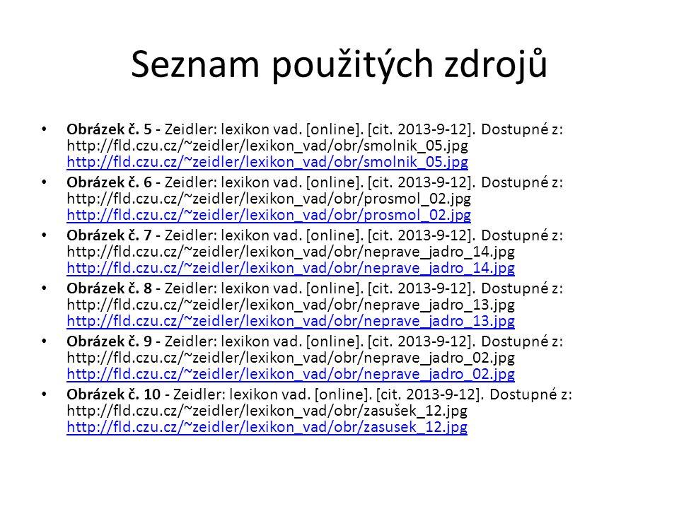 Seznam použitých zdrojů Obrázek č.5 - Zeidler: lexikon vad.