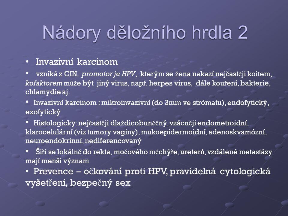 Invazivní karcinom vzniká z CIN, promotor je HPV, kterým se ž ena nakazí nej č ast ě ji koitem, kofaktorem m ůž e být jiný virus, nap ř.
