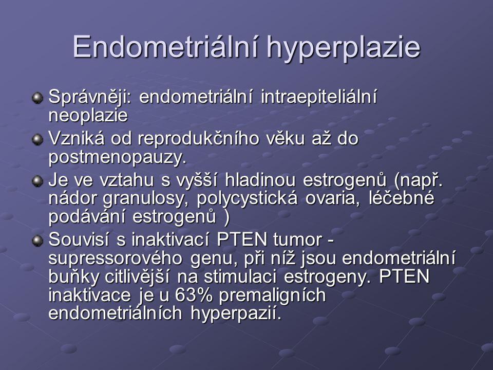 Endometriální hyperplazie Správněji: endometriální intraepiteliální neoplazie Vzniká od reprodukčního věku až do postmenopauzy.
