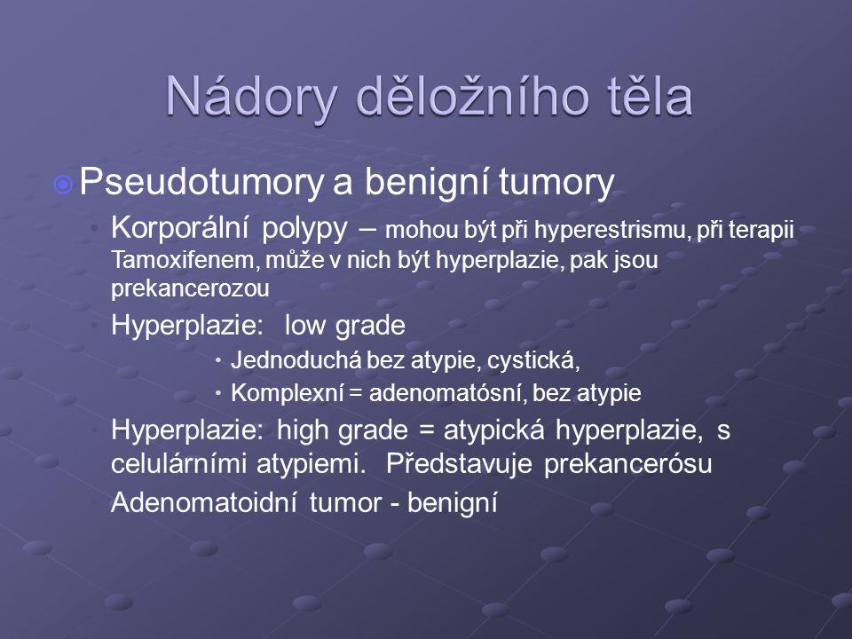   Pseudotumory a benigní tumory Korporální polypy – mohou být při hyperestrismu, při terapii Tamoxifenem, může v nich být hyperplazie, pak jsou prekancerozou Hyperplazie: low grade   Jednoduchá bez atypie, cystická,   Komplexní = adenomatósní, bez atypie Hyperplazie: high grade = atypická hyperplazie, s celulárními atypiemi.